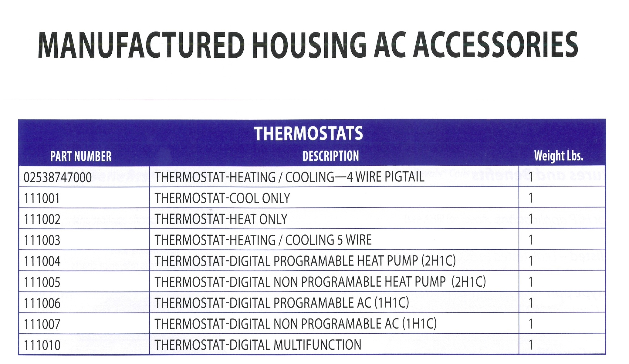 02538747000 -111010 MANUFACTURED HOSUING AC ACCESSORIES
