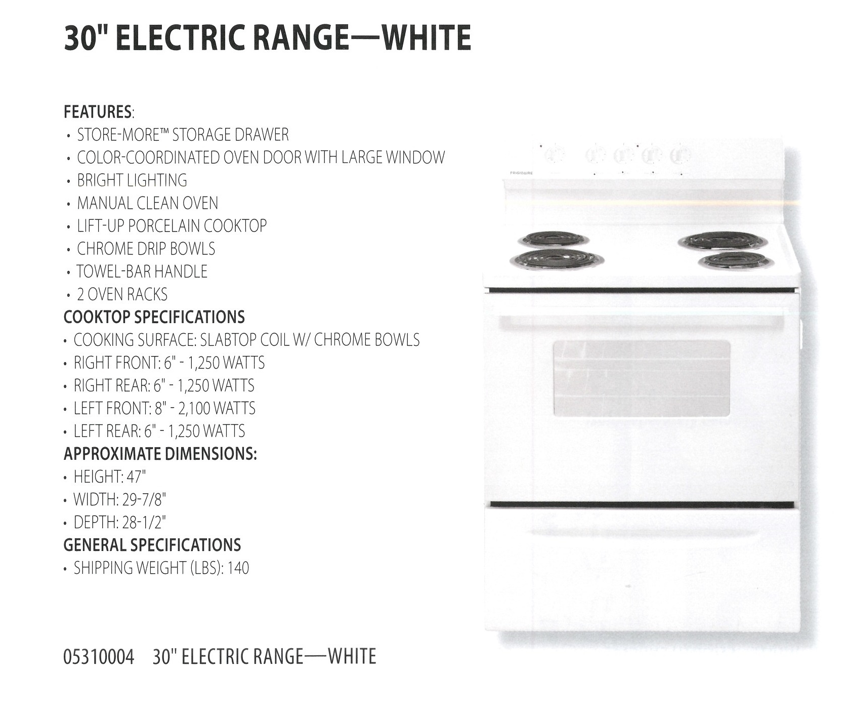 05310004 30 INCH ELECTRIC RANGE WHITE