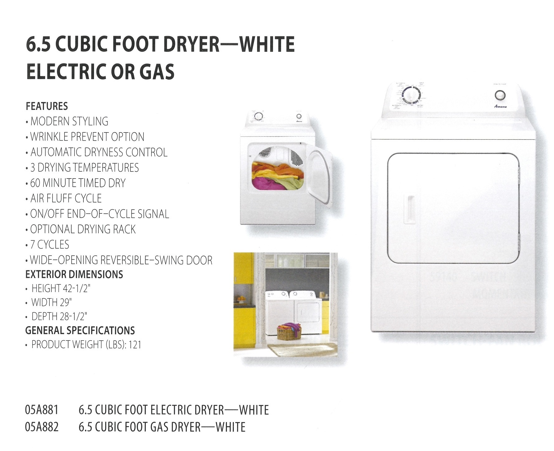 05A881 05A882 6.5 CUBIC FOOT FRYER WHITE ELECTRIC OR GAS