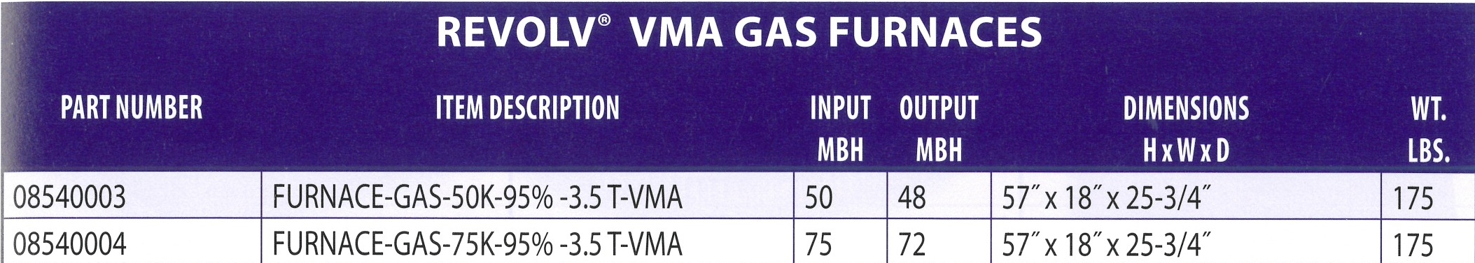08540003 08540004 REVOLV VMA GAS FURNACES