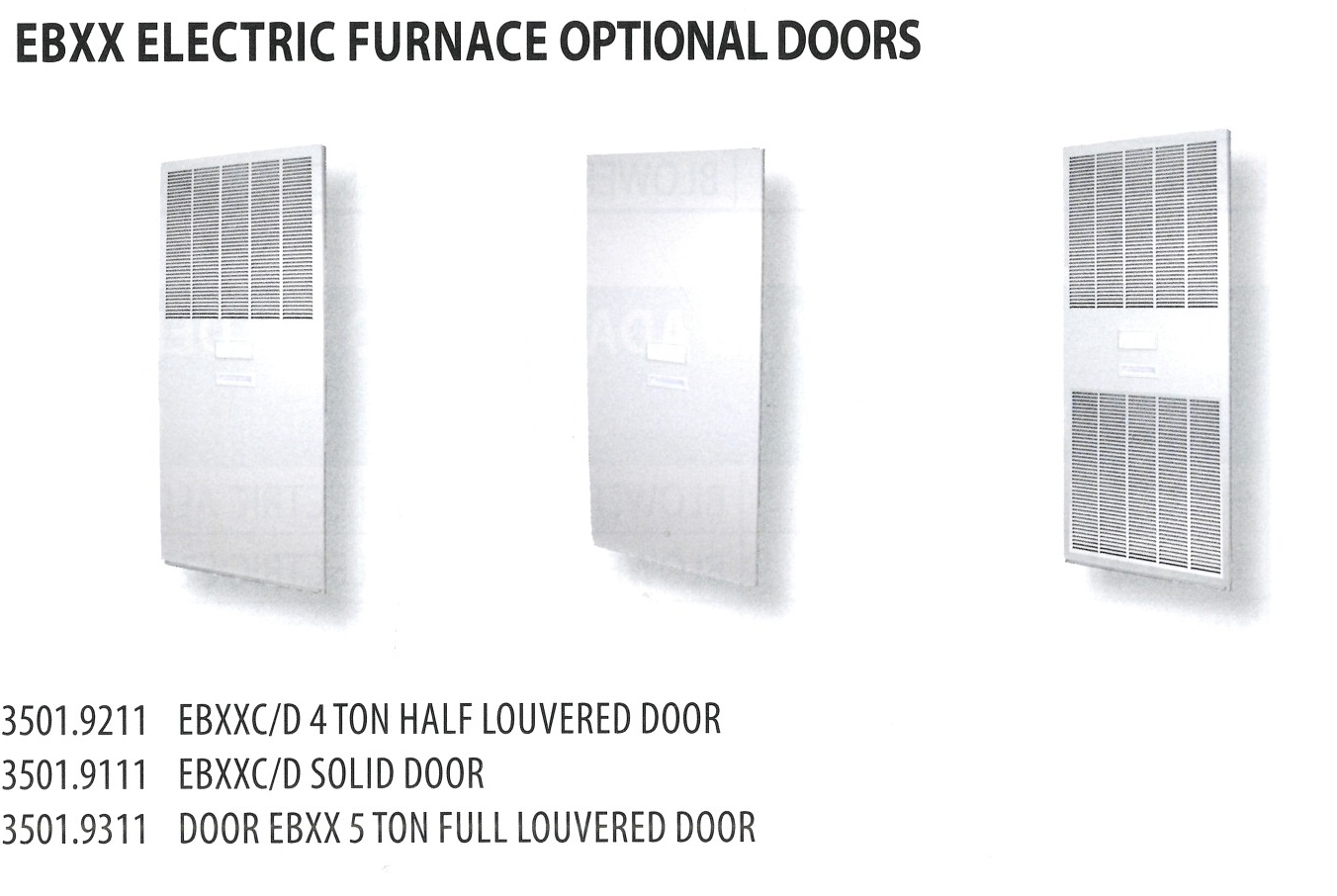 3501.9211-3501.9311 EBXX ELECTRIC FURNACE OPTIONAL DOORS