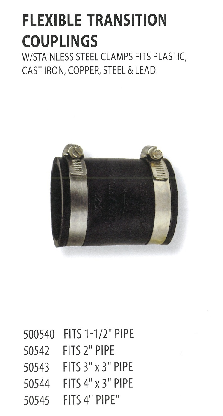 500540 50542 50543 50544 50545 FLEXIBLE TRANSITION COUPLINGS