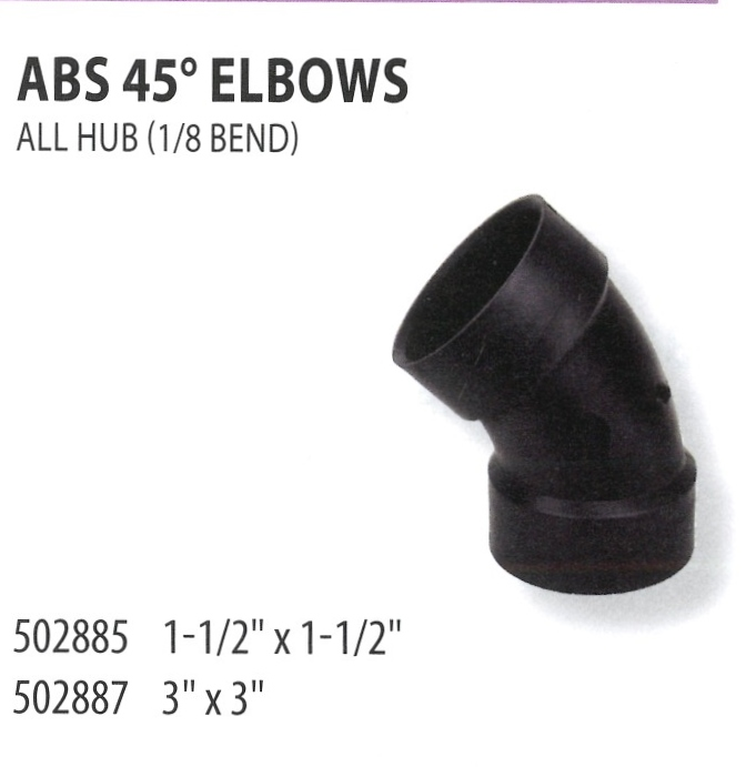 502885 502887 ABS 45 ELBOWS