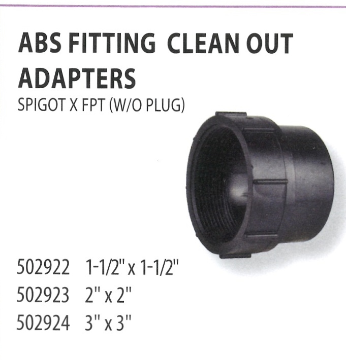 502922 502923 502924 ABS FITTING CLEAN OUT ADAPTERS