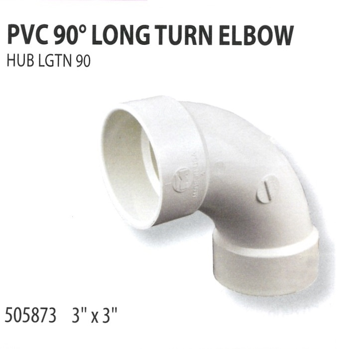 505873 PVC 90 LONG TURN ELBOW