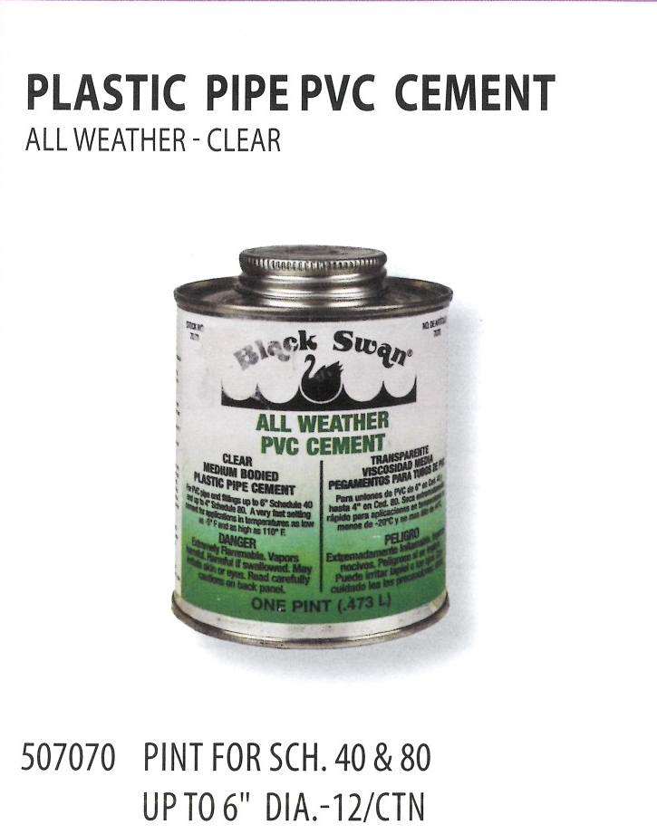 507070 PLASTIC PIPE PVC CEMENT