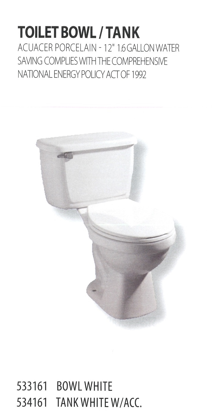 533161 534161 TOILET BOWL AND TANK