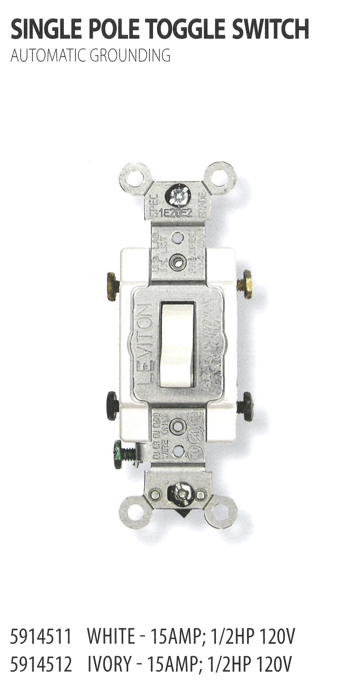 Electrical West River Industries Ivory Single Pole Toggle Switch 5914511 5914512
