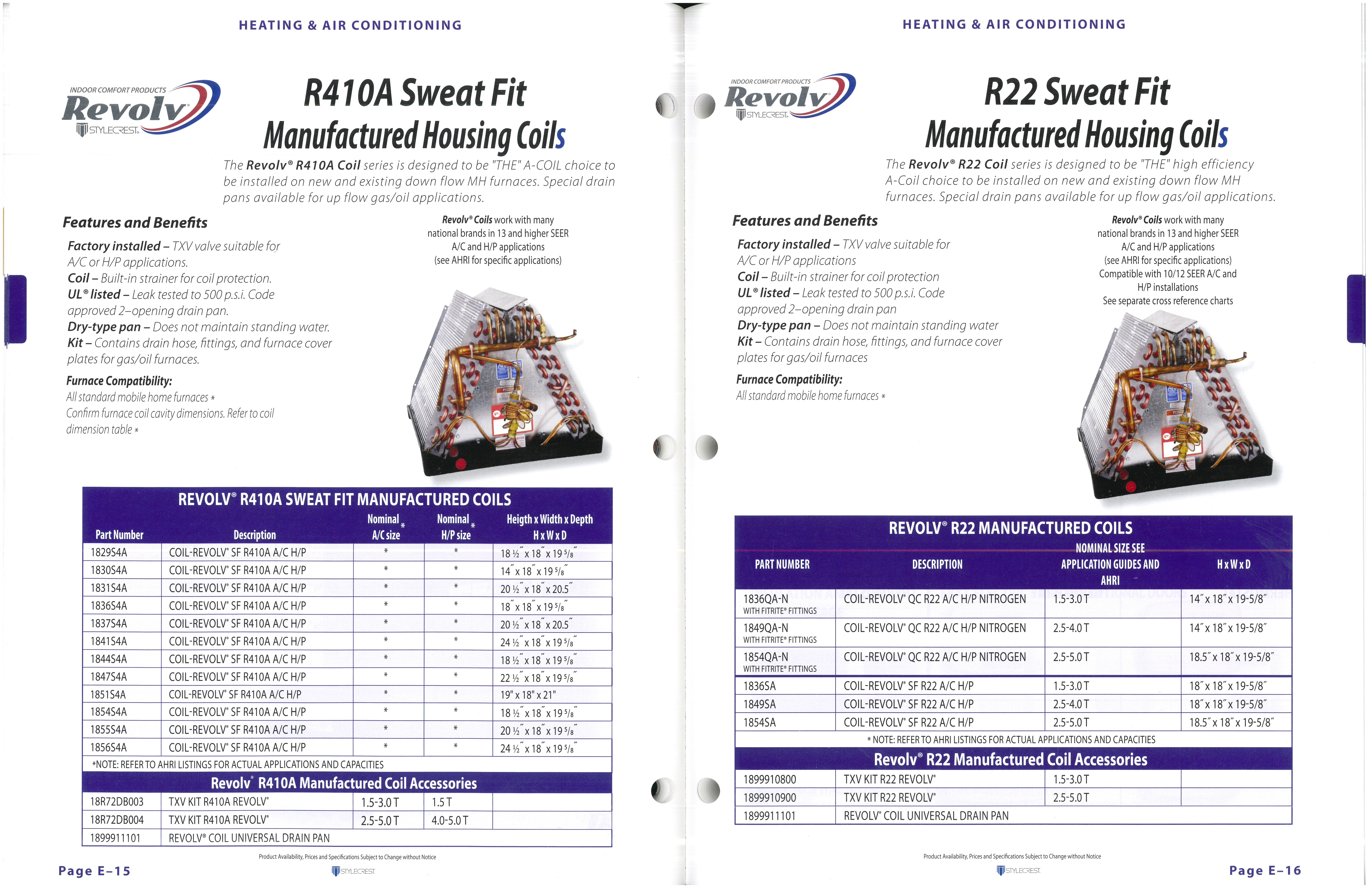 R410A Seat it Manufactured Housing Coils