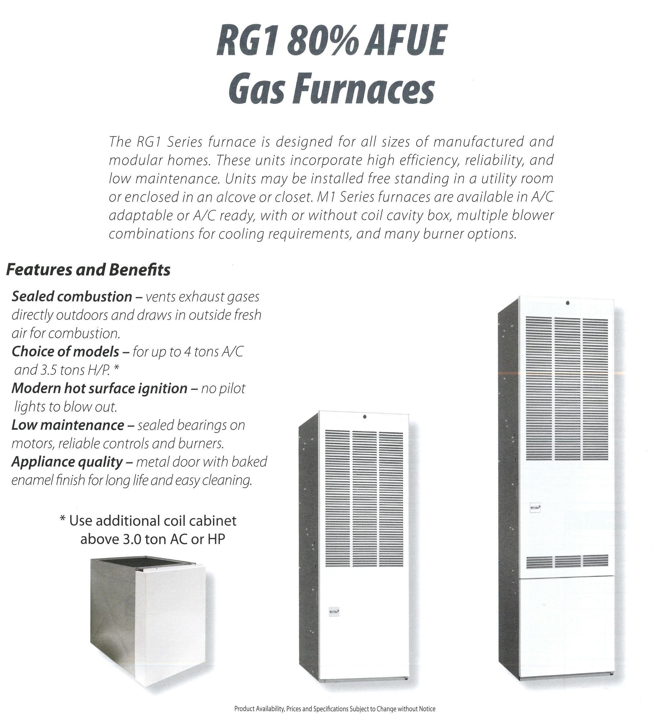 RG1 80% AFUE GAS FURNACES