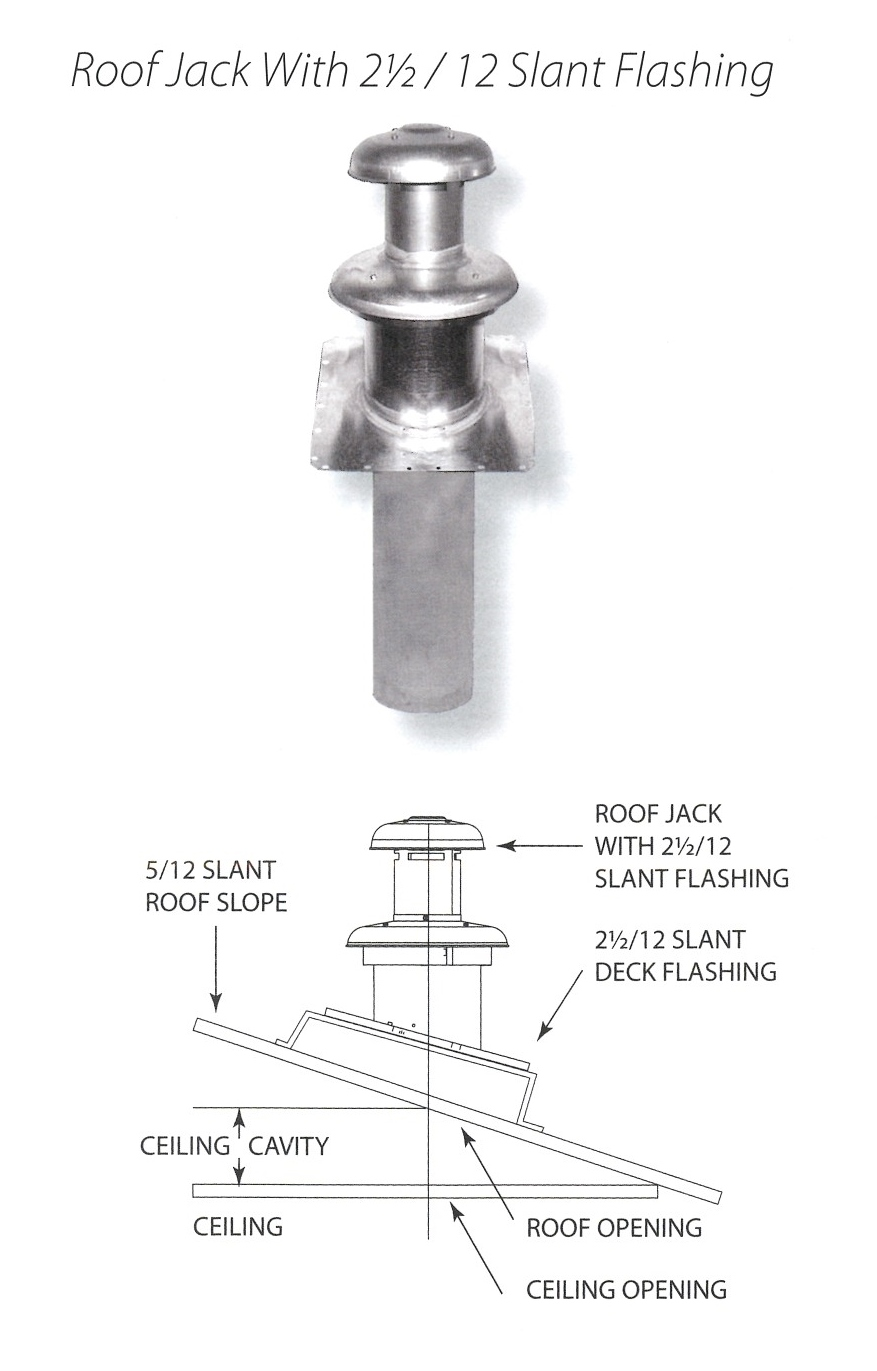 ROOF JACK WITH 2.5 OVER 12 SLANT FLASHING