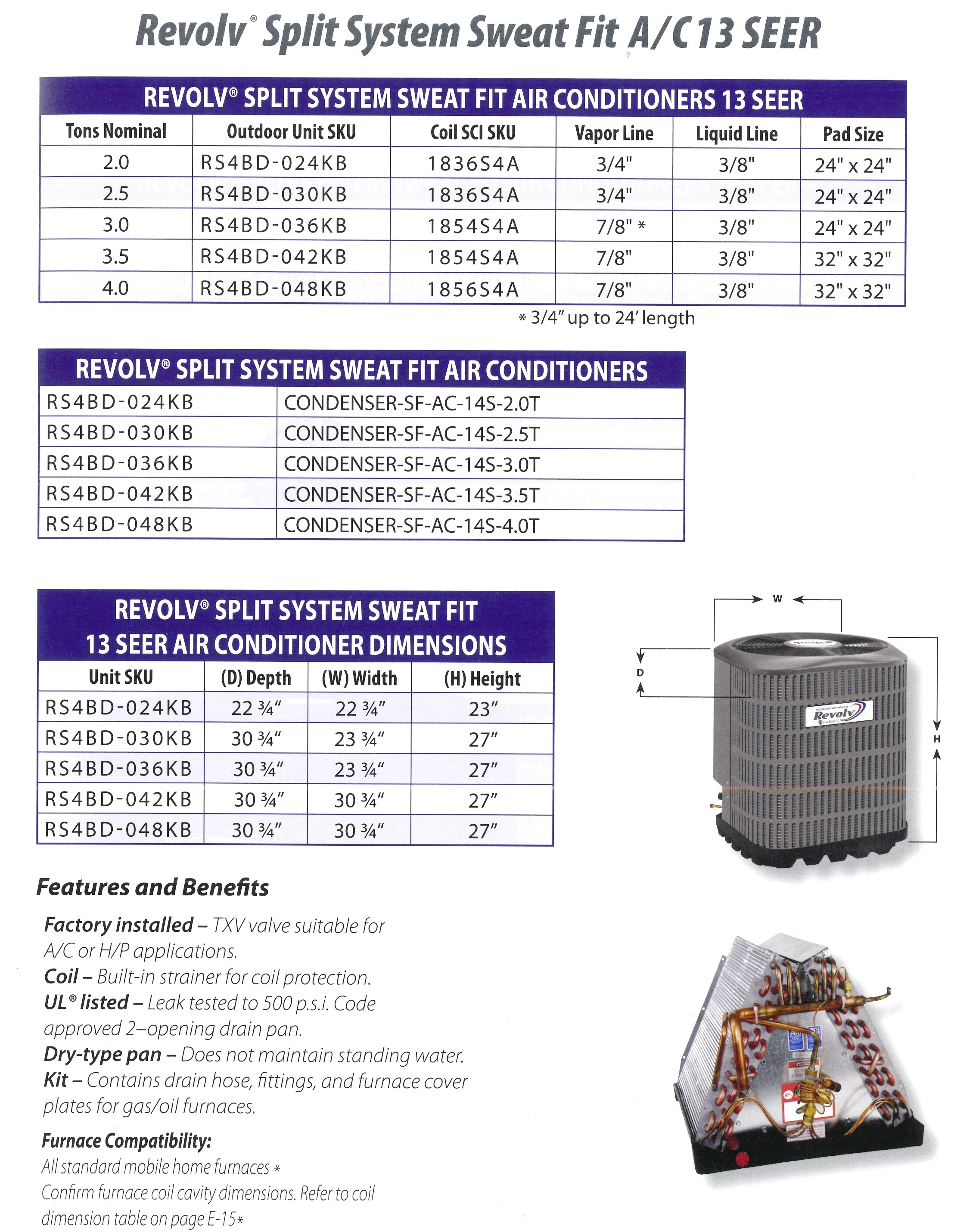 Revolve Split System Sweat Fit AC13 SEER