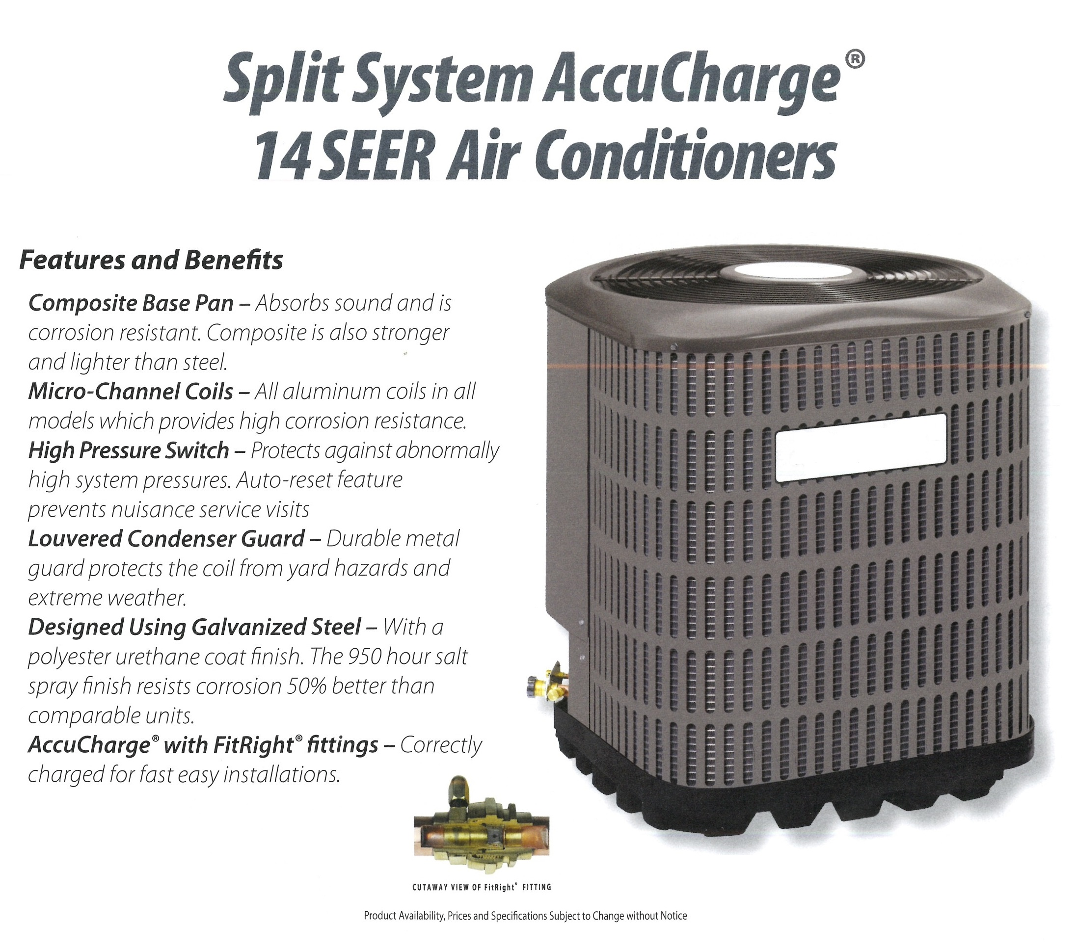 Split System AccuCharge 14 SEER Air Conditioners