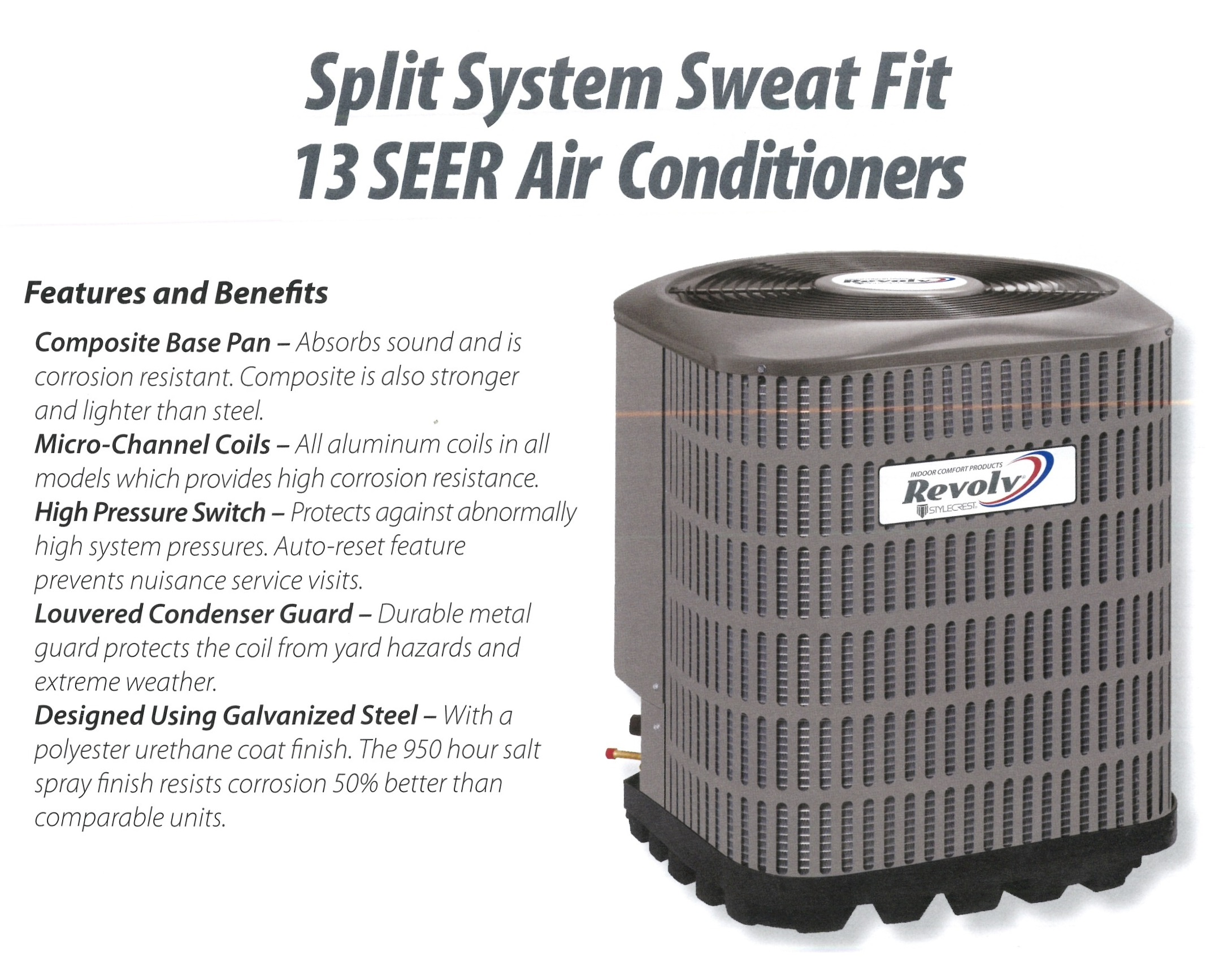Split System Sweat Fit 13 SEER Air Conditioners