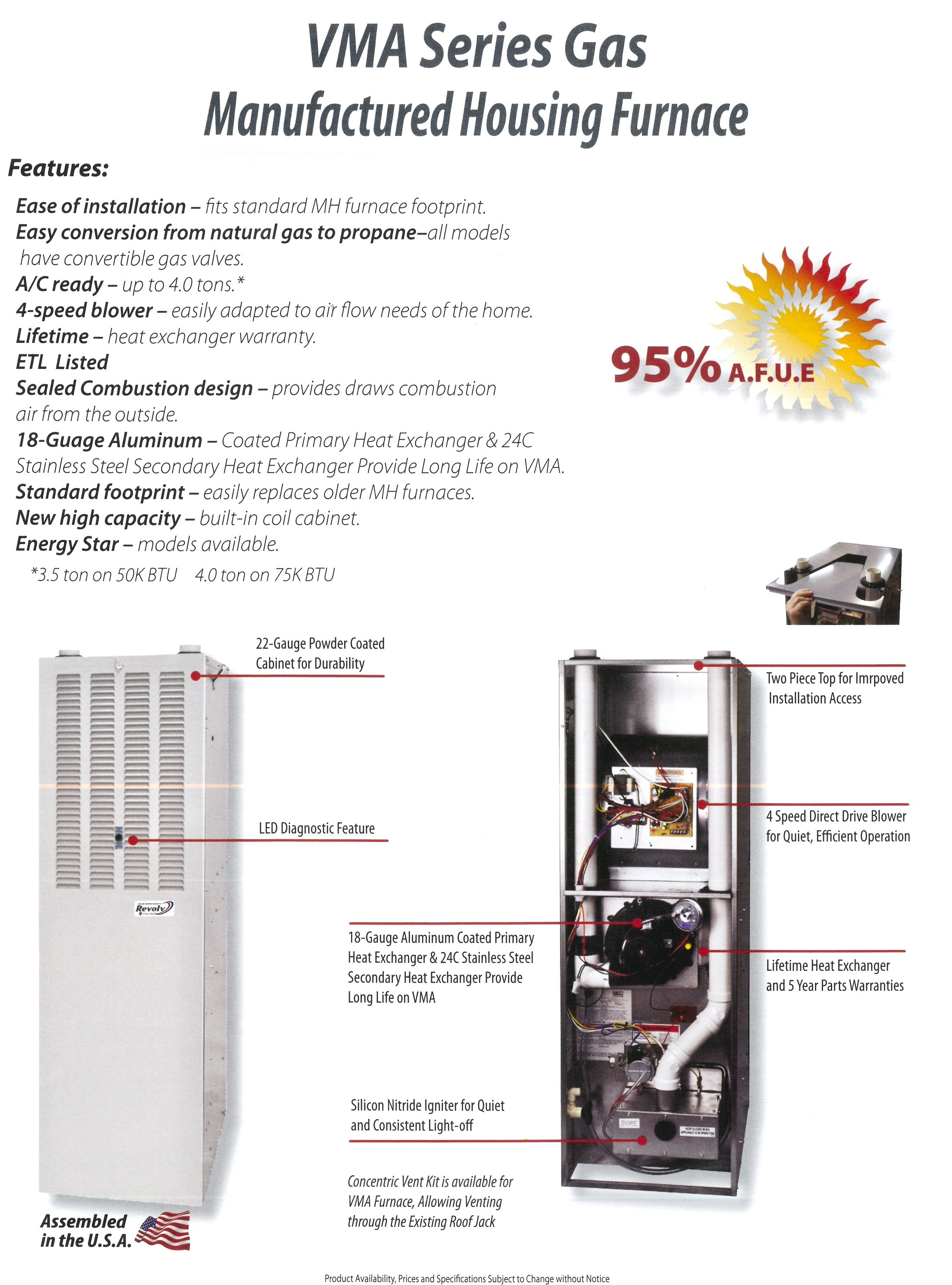 VMA SERIES GAS MANUFACTURED HOUSING FURNACE